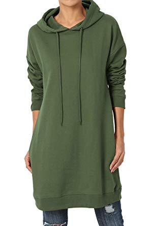 TheMogan S~3X Basic Loose Fit Pocket Pullover Hoodie Long Tunic