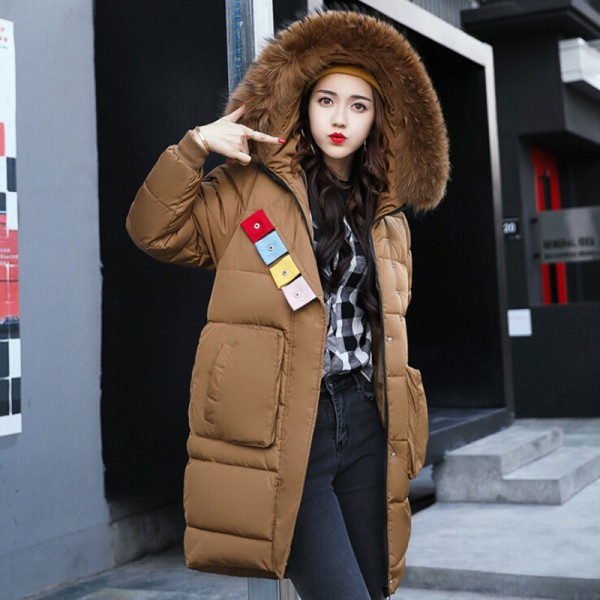 Buy Winter Fashion Jacket Women Faux Fur Collar Hooded Thickening