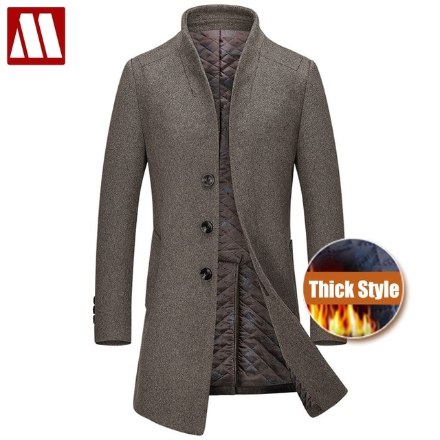 New Thicken Winter Wool Coat Men Thick Woolen Overcoat Mens Casual