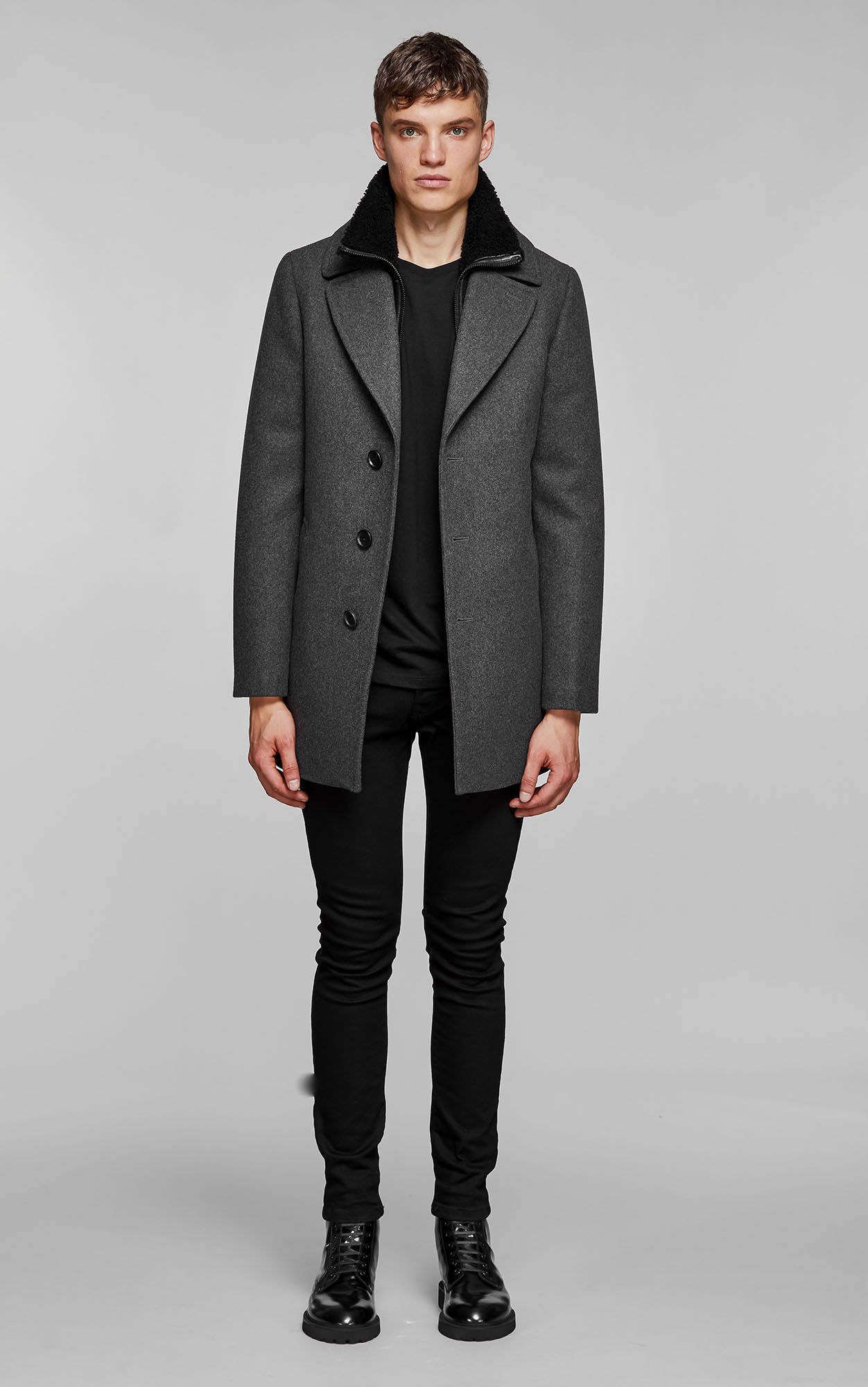 DILLON | WOOL COAT WITH SHEEPSKIN | MEN | MACKAGE