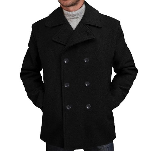 BGSD Men's 'Mark' Classic Wool Blend Pea Coat (Regular Big & Tall