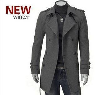 2019 Wholesale Mens Classic Casual Wool Jackets Pea Coat Winter Warm