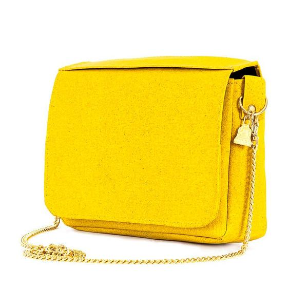 Luxury vegan designer Cork Clutch bag in Yellow with chain u2013 Beyond Bags