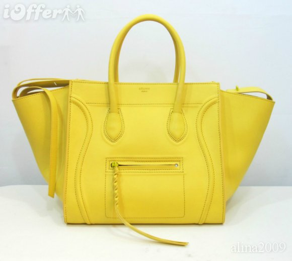 Celine Luggage Phantom Original Leather Bags Yellow for sale