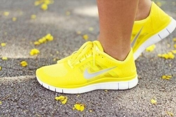 shoes, yellow, nike shoes, nike, nike free run, trainers, running