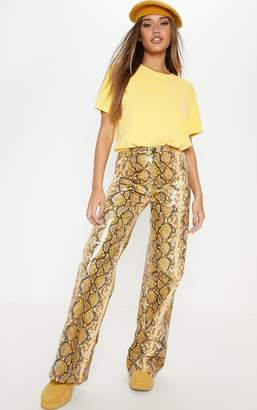 PrettyLittleThing Yellow Wide Leg Trousers For Women - ShopStyle UK