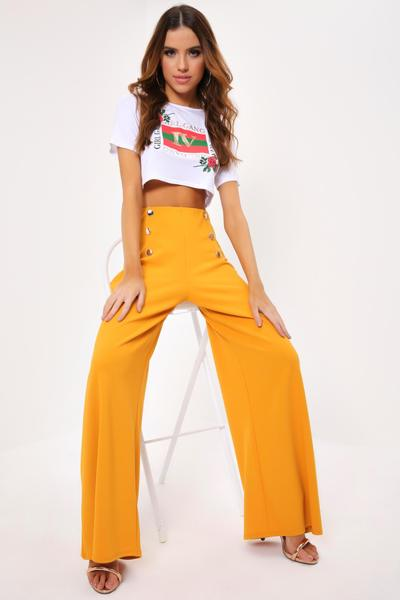 Mustard Military Wide Leg Trousers - PDP u2013 I SAW IT FIRST