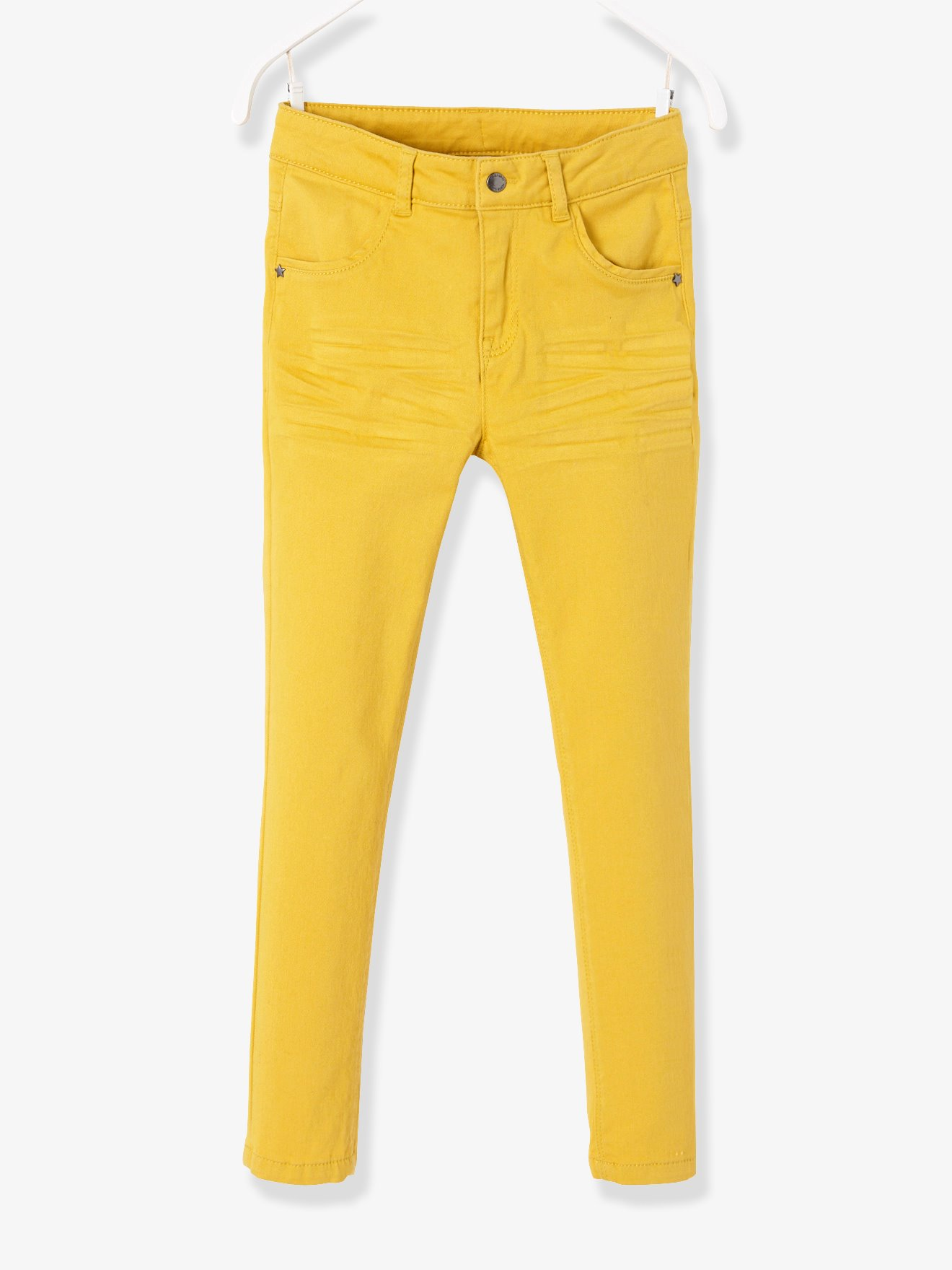 NARROW Hip Slim Trousers for Girls - yellow dark solid, Girls